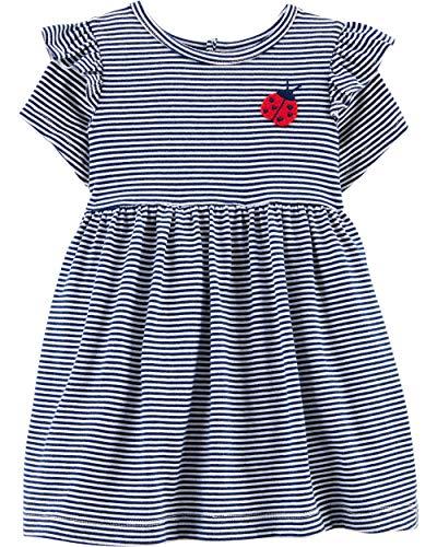 Carter's Baby Girls Jersey Dress (3 Months, Navy Striped/Ladybug)