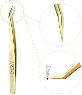 Eyelash Extension Tweezers for Make Fans 3D Volume Lashes Professional Precision Stainless Steel Mega Curved Angled Tips Dolphin Lashing 45 Degree Gold Tweezer Tools for Eye Lash Extensions Supplies