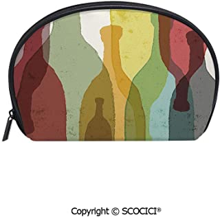 SCOCICI Durable Printed Makeup Bag Storage Bag Abstract Composition with Watercolor Silhouettes Bottles of Wine Whiskey Tequila Vodka Decorative for Women Girl Student