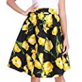 Luxspire Women's Retro High-Waisted Floral Print Pleated Skirts A-line Midi Skater Skirt