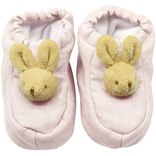 Trousselier - Slippers with Bunny Head - 0 to 2 Years Old - Linen Fabrics - Ideal Birth Gift - Machine Washable - Powder Pink Color - 2 Count