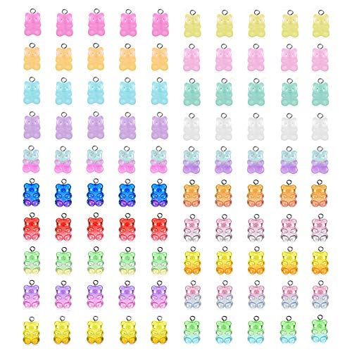 WINTING Resin Flatback Charms,100pcs Colorful Gummy Bear Charms Pendants for Keychains DIY Jewelry Necklace Supplies(color9)