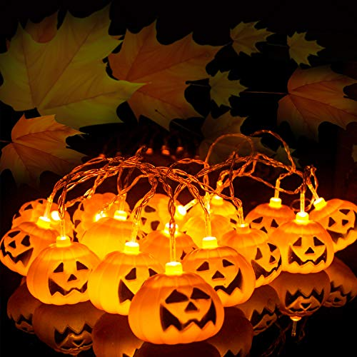 Herefun Fata Zucca Luce Della Stringa, 3M 20LEDs Halloween Zucca Luminosa Led Luci Stringa, Decorazioni per Feste Halloween Zucca Decorazioni