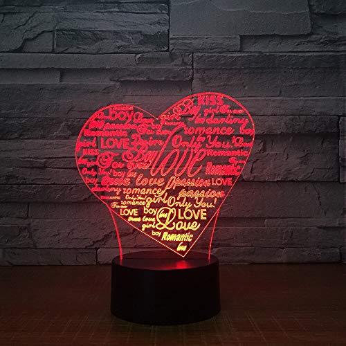 Letra de corazón Color Claro luz de Noche para niños, Reloj táctil para niños bebé Dormir Noche luz luz de la habitación Regalo de la Madre