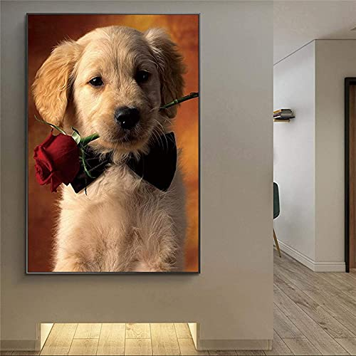SXXRZA Estilo nórdico Perro y Flor Rosa Carteles e Impresiones artísticos de Pared Animal clásico Lienzo imágenes artísticas decoración del hogar 50x70 cm sin Marco