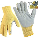 CrazyCat Work Gloves Men, Premier Leather Work Glove, Construction Safety Grip Cut Resistant Glove with High Temperature Resistance for Performance Fit, Durable, Machine Washable(1 Pair,L)