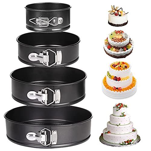 Moldes para Pasteles, Comius Sharp 4 Piezas Redondo Spring Forma Set, Antiadherente y a Prueba de Fugas, Sartén para pasteles con Fondo Extraíble (4'/ 7'/ 9'/ 10')