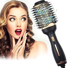 ATCRINICT Suszarka do włosów, suszenie włosów & wygładzanie & loki 4 W 1 salonie Ujemne włosy jonowe zmniejszają frizz i statyczne, Okrągły Styler włosów do włosów wszelkiego rodzaju