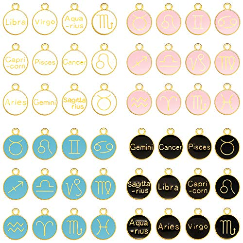 48 Pieces Zodiac Charm Round Enamel Metal Charm Double Sided Charm 12 Constellation Charm Pendant for Bracelet Earrings Necklace Jewelry Making Supply (Black, White, Pink, Blue,0.59 x 0.47 Inch)
