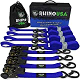 RHINO USA Ratchet Tie Down Straps (4PK) - 1,823lb Guaranteed Max Break Strength, Includes (4) Premium 1' x 15' Rachet Tie Downs with Padded Handles. Best for Moving, Securing Cargo (BLUE)