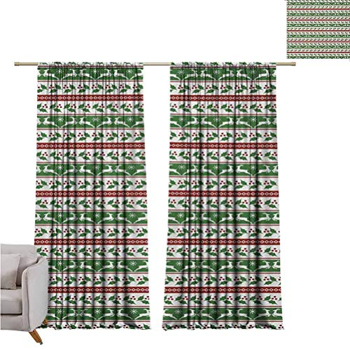 Christmas Blackout Curtain Jumping Reindeers Border with Xmas Mistletoe Poinsettia Flower Set of Two Panels for Curtains W52 x L72 Inch Burgundy White and Dark Green