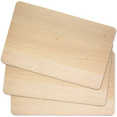 Madyes Frühstücksbrettchen Holz, Natur Buche unbehandelt, Schneidebrett 3er Set, Brettchen messerschonend, beidseitig nutzbar