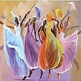 Papel tapiz mural 3D estéreo pintura al óleo colorida chica danza moda decoración del hogar sala de estar arte fondos de pantalla tela no tejida -300cm W x 240cm H(118×94.5inch)