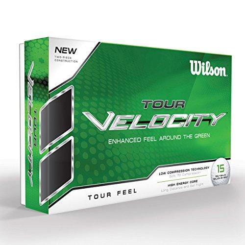 Wilson Staff, Weiche 2-teilige Herren Golfbälle für hohes Ballgefühl und maximale Reichweite, 15er-Pack, Niedrige Kompression, Ionomerhülle, Tour Velocity Feel, Weiß, WGWR60300