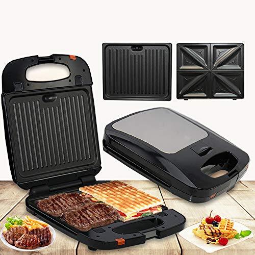 2 In 1 Belgische Electric Sandwich Maker Panini Press Met Fast Verwarming voor ontbijt, lunch Diner Roosteren Grillen en broodrooster