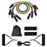 EFAGL Exercise Resistance Bands Set, Fitness Stretch Bands Workout Bands with 5 Fitness Workout Tubes for Door Anchor, Physical Therapy, Ankle Straps, Home Gym, Yoga