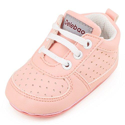DELEBAO Babyschuhe Krabbelschuhe Turnschuhe Lauflernschuhe Weiche Sohle Baby Schuhe Lederschuhe Erste Kinderschuhe Kleinkind für Mädchen Jungen (Pink,6-9 Monate)