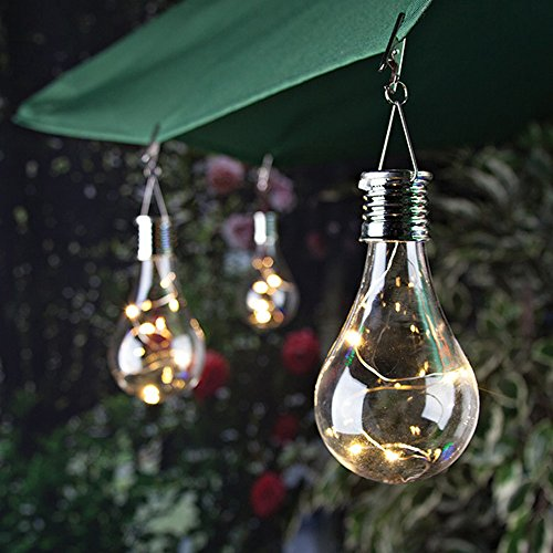 jieGorge Waterproof Solar Rotatable Outdoor Garden Camping Hanging LED Light Lamp Bulb, LED light for Easter Day (Clear)