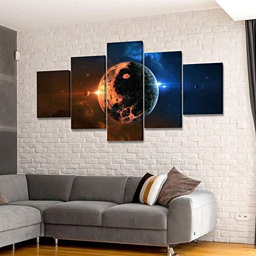 45Tdfc 5 Piezas Impresiones sobre Lienzo Modular DecoracióN PóSter Cuadro Planeta Distant World Night Selly Sky,Talla:150 * 80Cm HabitacióN Sala HogareñA