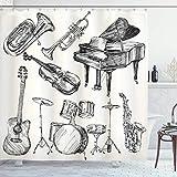 Sosun Cortina de Ducha Jazz Music, Ilustración de Instrumentos Musicales Arte de Estilo boceto con Trompeta Guitarra para Piano, Juego de decoración de baño de Tela con Ganchos, Negro Crudo