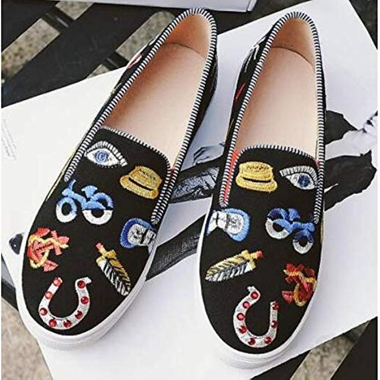 Women's shoes Suede Nappa Leather Spring Comfort Sneakers Flat Heel Black