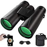 12x42 Binoculars, High Power Binocular for Adults, BAK4 Prism, FMC Lens, Fogproof & Waterproof, Ideal for Bird Watching Travel Stargazing Hunting Concerts Football, With Smartphone Adapter