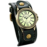 Jewelrywe Reloj de Pulsera para Mujer Correa de Cuero Verde Oscuro Estilo Retro Vintage Número Romano Bronce