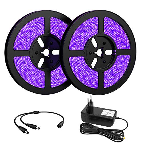 Onforu 10M Striscia UV, LED UV 2835 300 Unità, 12V Striscia LED UV, UV Strip con Trasformatore, LED Striscia Viola con Interruttore, Black Light Striscia Decoarare per Feste Bar Club Discoteca