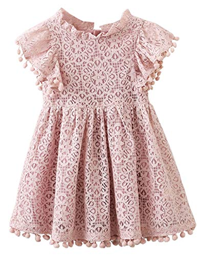 JNKLWPJS Toddler Girls Hollow Lace Pom Pom Flutter Sleeve Princess Party Dress Dusty Pink 120CM