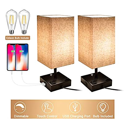 Bedside Lamp, 3 Way Dimmable Touch Control Table Lamp with 2 USB Charging Ports and 2 AC Outlets, Nightstand Lamp with Flaxen Fabric Shade Bedroom Lamp for Bedroom Living Room, Reading, Office