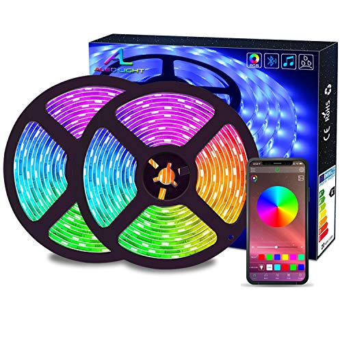 Striscia LED RGB 10M Musica, ALED LIGHT LED Strip Bluetooth RGB Striscia Luci, IP65 Impermeabile 12V Striscia, Bluetooth + 24 Tasti Telecomando, Nastri Led Smartphone Android e IOS Controllato da APP