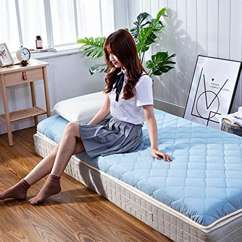 LIMIAO Colchoneta para Dormir con colchón de Dormitorio futón japonés, Alfombra Tatami Gruesa Suave y Transpirable, Piso Alto Grado Grueso 9 cm (150 * 200 cm),Azul,120x200cm