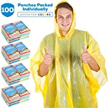 Rain Ponchos for Adults Teens Disposable Rain Poncho Bulk Pack Women Men Emergency Raincoat Big Groups Theme Parks Camping Outdoors Multi Colors Waterproof Rain Ponchos (100 Pack Sleeveless Ponchos)