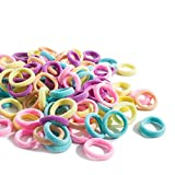 SENDILI 100 Stück Elastische Haargummis - Bunte Mini Stoff Haarbänder für Baby Mädchen,1,6 cm Durchmesser