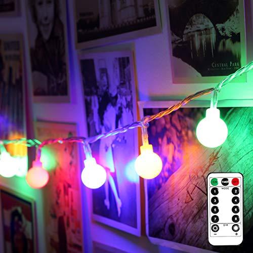 LE 5m 50 LED Guirnalda Luces LED 8 Modos, Cadena de Luces Multi Colores a Pilas, Temporizador, Guirnalda Luces Exterior Resistente al Agua, Decoración de Casa, Cafetería, Jardín, Navidad etc