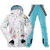 GSOU SNOW Womens Ski Bib Suit Warm Winter Waterproof Snowboard Jacket Women's Snowsuit Windproof Ski Jacket Suit