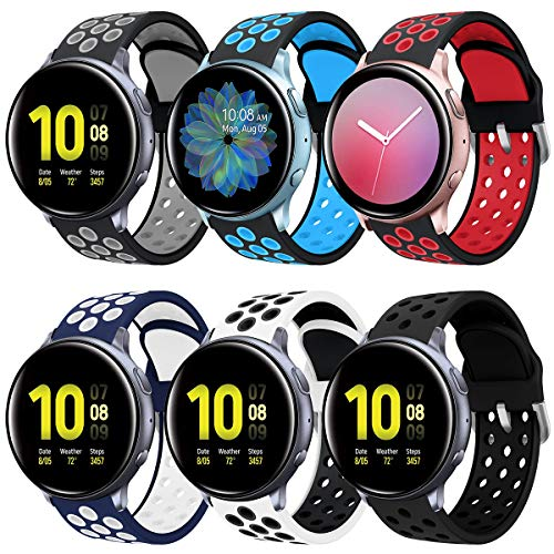 Syxinn Kompatibel mit 20mm Armband Galaxy Watch Active/Active 2 40mm 44mm Armband, Ersatz Uhrenarmband Silikon Sportarmband für Galaxy Watch 42mm/Gear Sport/Gear S2 Classic/Huawei Watch 2