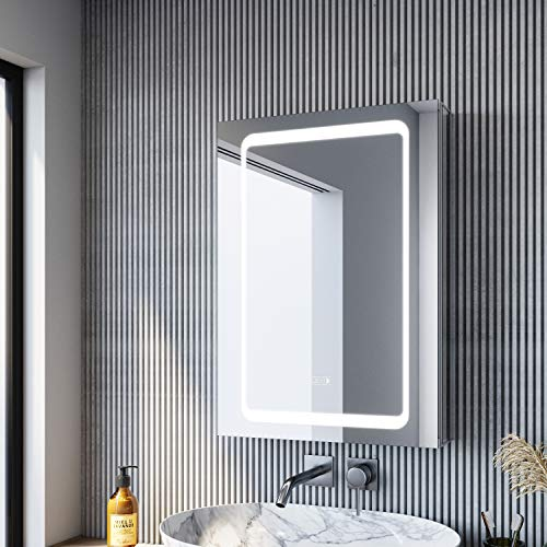 SONNI Spiegelschrank Bad Badezimmer Spiegelschrank mit Beleuchtung 50 × 70cm beschlagfrei Badezimmerschrank mit Spiegel mit Touch und Steckdose Spiegelschränke fürs Bad Aluminium