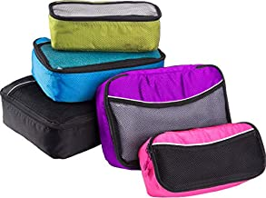 Bago 5 Set Packing Cubes for Travel - Luggage & Bag Organizer - Pack Like a Pro (BlackBluePurpGreenPink)