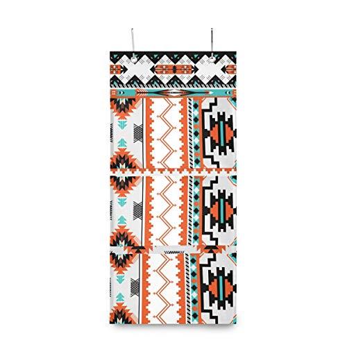 XIXIKO - Bolsas de almacenamiento para colgar en la pared con 3 bolsillos para puerta, diseño geométrico azteca tribal