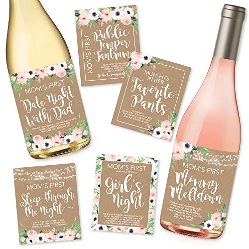 Product Image of the 6 Mommy's First Milestone Stickers or Wine Labels, Great Baby Shower Gift Ideas...