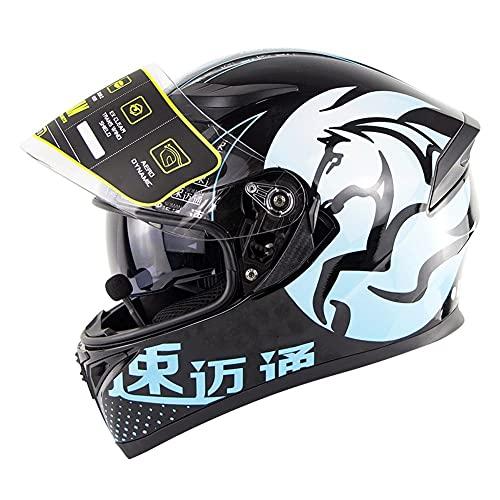 Casco Integrale Moto Scooter Bluetooth Full Face Casco Moto Motorino Caschi Integrali Donna Uomo con Doppia Visiera Parasole approvato DOT ECE (Color : Blue)