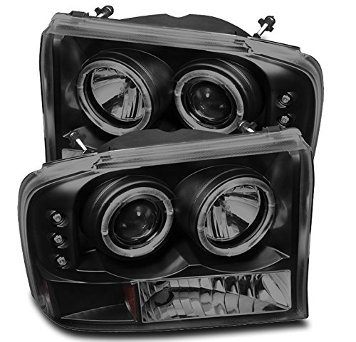 ZMAUTOPARTS Dual Halo LED Projector Headlights Black/Smoke For 1999-2004 Ford...