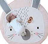 Fyore Kuschelige Hase Rund Krabbeldecke Gepolstert Spielmatte Groß Baumwolle Kinderteppich Babyzimmer Dekoration 90cm (Rosa)