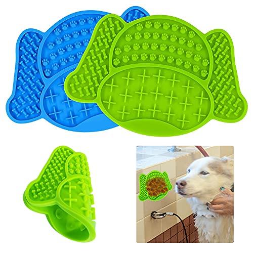 KNMY Leckmatte für Hunde 2 Stück Lick Pad Hund Lecken Pad Lick Mat Leckmatte Hund Slow Feeder Mit Super Starke Saugkraft - zum Baden, Pflegen und Hundetraining von Haustieren (Blau, Grün)