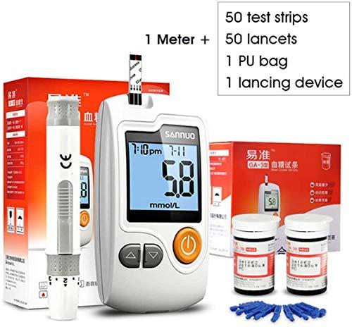 AKBQ Blutzucker-Test Kit - Blut Keton- Und Blutzucker-Tester-Monitor Ihres Keton- Und Glucosespiegel 50 Testpapier 50 Mess Needles