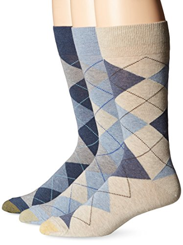 Gold Toe Men's Carlyle Argyle Crew Socks, 3 Pairs, Chambray/Oatmeal Heather/Denim, Shoe Size: 6-12.5
