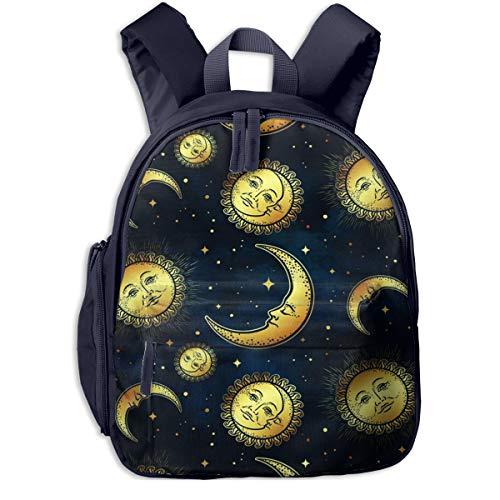 Mochilas Infantiles, Bolsa Mochila Niño Mochila Bebe Guarderia Mochila Escolar con Oro Cuerpos celestes Luna Sol para Niños De 3 A 6 Años De Edad