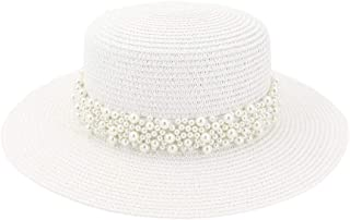 SHENTIANWEI Women Travel Sun Hat Flat Top Hat Outdoor Travel Straw Holiday Pearl Weaving Belt Aristocratic Hat Beach Hat
