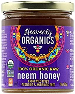 Heavenly Organics 100% Organic Raw Neem Honey (12oz) Lightly Filtered to Preserve Vitamins, Minerals and Enzymes; Made from Wild Beehives & Free Range Bees; Dairy, Nut, Gluten Free, Koshe